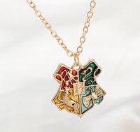 badge pendants - 2016 Fashion Harry Potter Hogwarts School Badge College Pendant Necklace Movie Jewelry Necklaces Pendants Harry Potter Friendship Jewelry