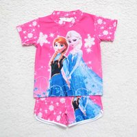swim shirts - Frozen Children Swimwear Short Sleeve T Shirt Swim Trunks Kids Swimwear Girls Swimsuit Bathing Suits Child Sets Beachwear C3805 Elsa