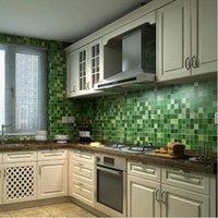 Wholesale 45x200cm Anti Oil Wallpaper Mosaic Aluminum Foil for Kitchen High Temperature Resistant Bathroom Green Waterproof Wallpaper
