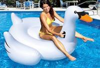 Wholesale inflatable swan pool toys gonfiabili acquatici floats floating island flotadores para piscina luftmatratze float funny pool