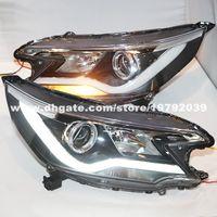 headlight projector lens - 2012 year HONDA CRV LED Angel Eyes LED Strip Headlights Projector Lens YZV2