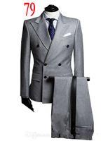 best sides - 3 pieces Double breasted Light Gray suit Groom Tuxedos Best Man Peak Lapel Side Vent Groomsmen Men Wedding Suit Jacket Pants Tie