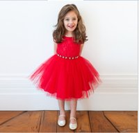 embroidered chiffon lace - Baby Girls Christmas Princess Dresses Children Sleeveless Vest Dress Lovely Girl Red Lace Tulle Skirt Kids Clothing Girl Embroidered Dress