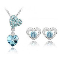 Earrings & Necklace african shaped earrings - New fashion austrian crystal jewelry sets with Rhinestone necklace and earrings Heart shaped Crystal jewelry Set for woman z065