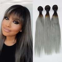 Cheap HOT Silver Grey Ombre Hair Extensions 3Pcs 1B Grey Straight Human Hair Two Tone Ombre Brazilian Human Hair Grey Hair Weave