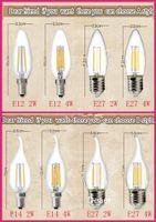 Wholesale LED Filament Bulb lampada LED V bombillas LED Edison COB Bulb E27 E14 E12 C35 Candel Light W W W Degree LM W Warm White