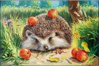 apple hedgehog - 40x50cm Hedgehogs Apple Diy Painting Cross Stitch Diamond Square Drill Rhinestone Pasted Picture Resin Full