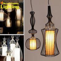 Wholesale Black White Wrought Iron Pendant Lights creative vintage birdcage decoration restaurant lamp bedroom foyer pendant lamps
