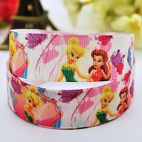 character ribbon - 7 mm Tinker Bell fairy cartoon characters printed grosgrain ribbon hairbow party decoration yards satin ribbons X