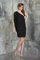 Wholesale Sexy Simple one shoulder backless party Dresses black Short Mini chiffon special occasion Dress fast shipping