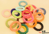 Wholesale Cheap Telephone Line Gum Black Colored Elastic Hair Band For Girl Rope Jewelry Accessories Springs Hair Scrunchy