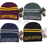 beanie hat free shipping plain - Hufflepuff Ravenclaw gryffindor harry potter hat Harry Potter Cosplay college hats Slytherin beanie skull knit hat cap