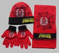 winter hat scarf and glove set - Free shiping Mix order children winter Scarf Hat Glove Sets spider man cap and scarf and gloves set