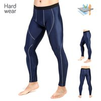 Wholesale Running Pants NEW AUTUMN FALL MENS OUTDOOR SKINS PANTS ELASTIC CYCLING FITNESS RUNNING BASE LAYER TIGHTS BLUE QUICK DRY BASKETBALL