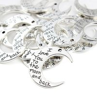 Wholesale Free Antique Silver I love You To The Moon And Back Moon Charms Pendant x30mm