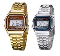 al por mayor ver logotipo de los hombres de la marca-F-91W LCD Relojes Digitales Relojes de lujo de acero inoxidable de la vendimia para los hombres de las mujeres Reloj electrónico del LED de la marca de fábrica del color del oro de los hombres con la insignia