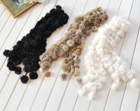 rabbit fur scarves - New women winter real rabbit fur scarf lady casual Fur Scarves Fur Ball velvet Rabbit Long style