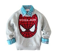 men knitted sweaters - Cartoon Spider man Cat Miki Crochet Sweater Spring Children Long Sleeve Knitted Pullover Sweater Childs Clothing Navy Blue Gray M3368