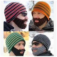 Wholesale AAAA quality New Fashion Mens beard Beanies Mens Winter knitted Beanies American styles Mens beard beanies LJJD1312