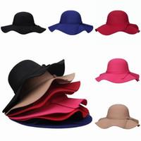 Wholesale New Arrival Women Faux Wool Felt Hats Outdoor Casual Wide Brim Caps Summer Beach Travel Sun Hats Colors Choose EKN