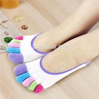 ankle socks with heels - Womens Girls Pure Cotton Five Fingers Toe Ankle Socks Rainbow Color Comfort New styles Silicone slip with heel Sock Slippers