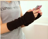 Wholesale 2015 Winter Women Warm Knitted Long Gloves Half Finger Gloves Hand Wrist Fingerless Gloves Warm Cuff Arm Sleeves DHL A