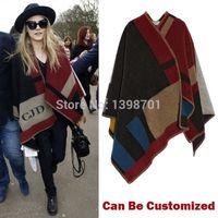 designer wool scarves - Customized logo Plaid Cashmere Designer scarf Wool cape Fashionable poncho Bohemia blanket Winter Women shawl Wrap Bufandas