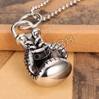 american boxing gloves - 316L Stainless Steel Boxing Glove Rocky Mens Charms Pendant Necklace Chain