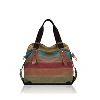 Wholesale 2015 Hot Fahion Good Guality Famale Woman Multicolor Crossbody Bag Handbag Canvas Cross Stripe Messenger Bag