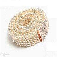 adorn diamond designs - Novel designs trend all match waist belts lady diamond pearl adorn gold buckle elastic belt women QQ
