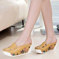 Cheap New 2016 women sandals summer genuine leather flat platform shoes woman wedges sandal height increasing beach slippers shoes
