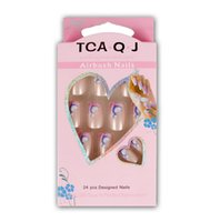 acrylic nails cheap - HOT cheap Pre designed Acrylic Nail tips French Full False Nails Art glue JQ020