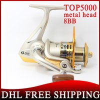Wholesale 200pcs NEW BB Metal Aluminum Spool Fishing Reel TOP5000 High Quality Compare With Akuma Daiwa And Ryobi Competitive Price