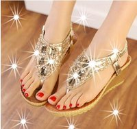 beautiful wedge shoes - Style shoes New Diamond Beads explosion summer sandals with slope beautiful generous fashion