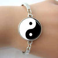 antique chinese tiles - Handmade Glass Tile Yin Yang Chinese Oriental Asian Jewelry Bracelets Bangle Plated Antique Silver Rhodium New Design Bangles