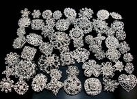 Wholesale mixed Size Rhinestone brooches crystal silver gold colors brooch pins wedding