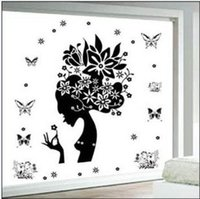 Graphic vinyl animal house pictures - Free ship pc Third generation wall stickers Beautiful girl picture New house bedroom living room TV background order lt no tracking