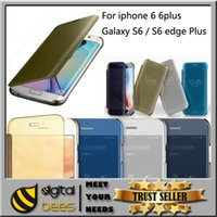 chrome green - For Galaxy S6 S6 edge Plus iphone s splus Mirror Chrome Clear View Leather Wallet Flip Case Cover Gold Silver For Samsung S6 edge
