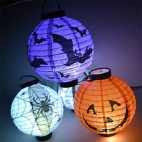 Wholesale 12 Halloween Pumpkin Spider Ghost Bats Paper Lantern Lamp Halloween Outdoor Decoration Light Battery LED Ballons Lamps