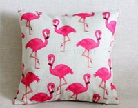 pink flamingos - Vintage Linen Pillow Cushion Cover Throw decorative cushion covers cm cm Pink flamingo Pillow Case