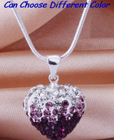 china drop shipping - wedding mixed color new arrival snake mix Drop Fashion Silver Plated CZ Crystal Gradient Heart Shamballa Necklace Pendant