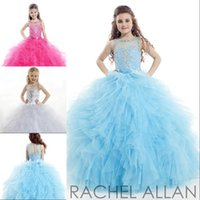 Wholesale White Girls Cupcake Pageant Dresses Shining Beads Crystal Jewel Illusion Backless Ball Gown Toddler Kids Princess Gowns Floor Length