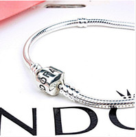 pandora bracelet - High quality mm cm Silver Plated Bracelet Chain with Barrel Clasp Fit European Beads Pandora Bracelet Snake Chain