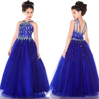 little girls party dresses - 2015 Royal Blue Girl Pageant Dresses With Halter Neck Crystals Beaded Top Tulle Floor Length Little Girl Formal Party Dresses