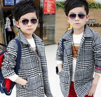 houndstooth - Korean Style Boys Winter Houndstooth Pageant Coat Children Black White Splicing Plaid Lapel Outwear Kids Woolen Outcoat Clothing E1669