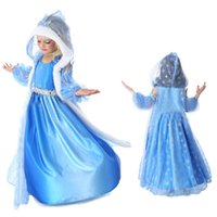 anime princess dresses - frozen snow queen elsa costume anime cosplay dress frozen elsa dress blue frozen princess elsa dress with hooded cape