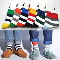 absorbent socks - HOT SALE Pair Fashion Boys Mens Elastic Breathable Sweat Absorbent Stripes Warming Socks