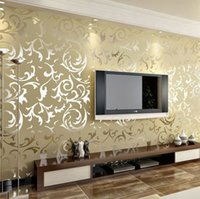 Wholesale Luxury velvet victorian wallpaper background wall wallpaper classic wall papers home decor for living room embossed damask