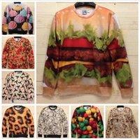 Cheap New 2014 Winter Women Men 3D Sweatshirts.Sexy Clothes Hamburger Animal Ice Cream Money