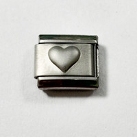 Wholesale 9mm classic emboss heart love you Italian charm bracelet stainless steel modular charms link fits Nomination